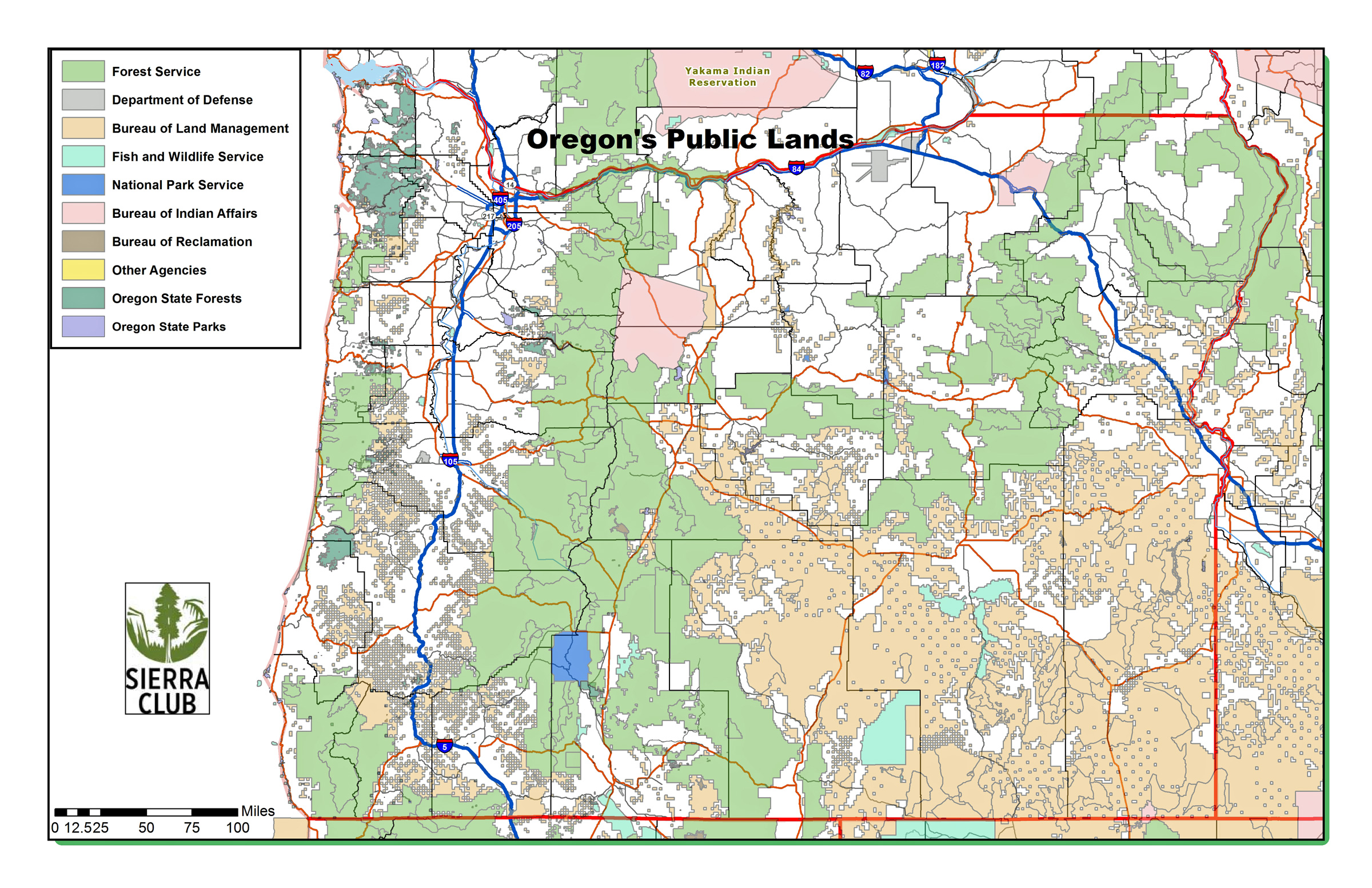 Oregon Chapter Sierra Club - State map of oregon