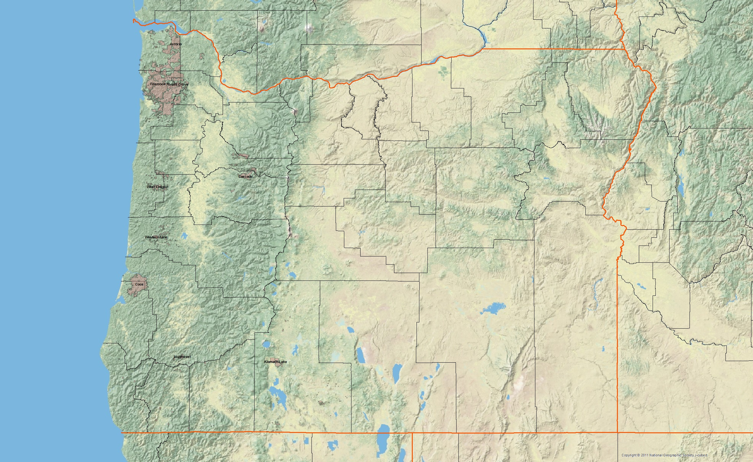 Or State Map.Oregon Chapter Sierra Club